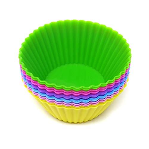 Honbay 12個セット シリコン製 再利用可能なケーキカップセット ベーキングカップ ノンスティックライナー型 カップケーキベーキング型 マフィン/チョコレート/パン作りに