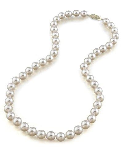 14K oro 8,5–9mm Akoya japonés blanco collar de perlas cultivada–calidad AAA, 18cm Longitud de la princesa