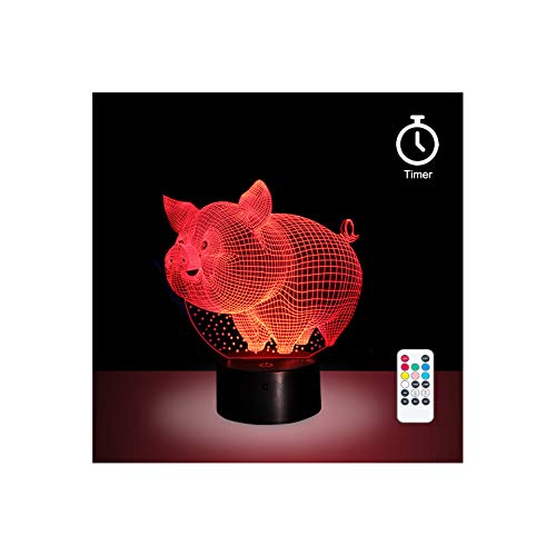 Remote Control LED Pig Night Light with 7 Colors and Timer Function, Perfect Gift for Baby, Kids and Child