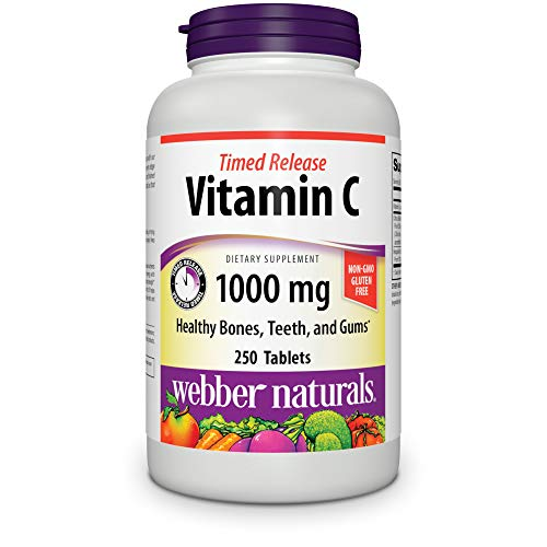 Webber Naturals Vitamin C Timed Release, 1,000 mg of Vitamin C in Each Tablet, 250 Tablets, Free of GMOs, Gluten and Diary, Suitable for Vegetarians and Vegans, for Immune and Antioxidant Support