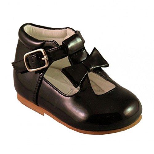 Schuhe für Mädchen, Kleinkinder, glänzend, Lackschuhe, mit Schleife, im spanischen Stil, weiß/schwarz/cremefarben/rosa/rot, für Party, Hochzeit, rutschfeste Gehhilfe, - Größe: 23 EU