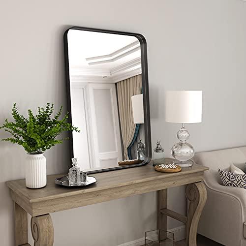 NXHOME Rectangle Metal Frame Wall Mirror - 18 x 28 Inch Bathroom Wall Mounted Vanity Mirror Rounded Corner Black Frame Decorative Mirrors for Bedroom Entryway Living Room