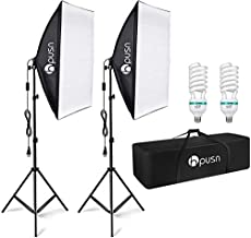 HPUSN Softbox Lighting Kit Professional Studio Photography Equipment Continuous Lighting with 85W 5400K E27 Socket and 2 Reflectors 50 x 70 cm and 2 Bulbs for Portrait Product Fashion Photography
