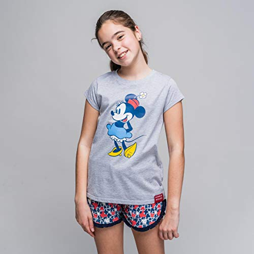 Cerdá Pijama de Minnie Mouse-Camiseta + Pantalon de Algodón Juego, Gris, 10 años para Niñas
