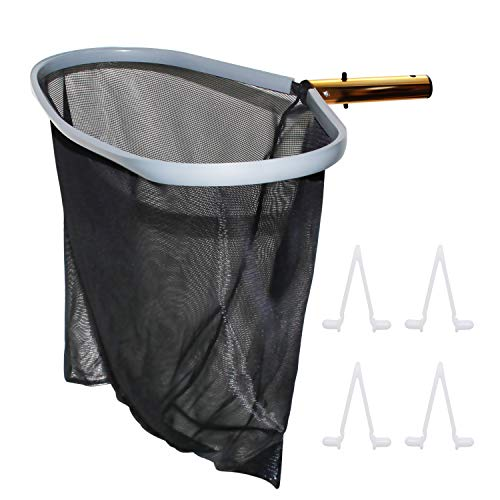 """[Upgraded] Heavy Duty 19"""" Swimming Pool Leaf Skimmer Rake Net, Commercial Size with Aluminum Alloy Frame,Deep Bag Fine Mesh Net and FREE 4 Spare V Clips for Swimming Pool, Hot Tub, Fountain, Fish Pond"""