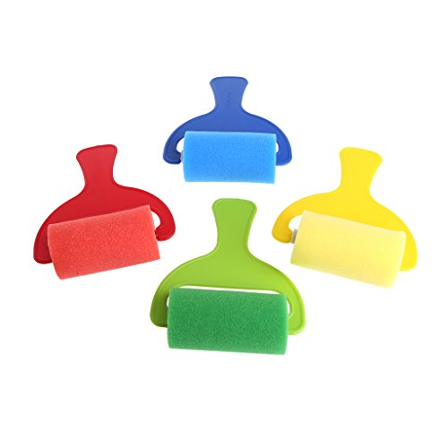 Itemap 4Pcs Sponge Roller Stamper Foam Graffiti Paint Crafts Stamps Kids Toy