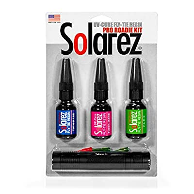 SOLAREZ Fly Tie UV Cure Resin - Pro Roadie Kit ~ Thin-Hard, Thick-Hard, Flex Formulas, 3 Pack (.5 oz Tubes) w UV Fly Tye Flashlight ~ Clear Fly Tie Resin Glue for Forming, Shaping and Coating