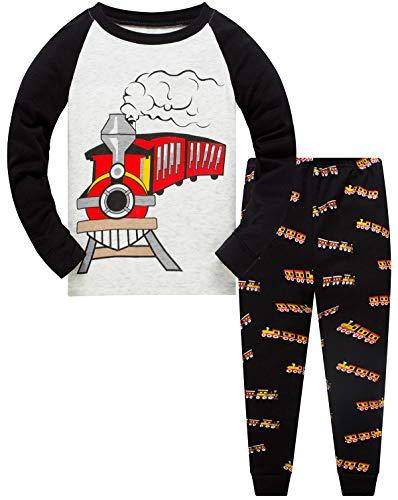 Toddler Fire Train Pajamas Boys 2 Piece Pjs Set Cotton Tops Fleece Pants Sleepwear(Red Train-6234 4T)