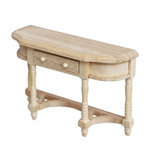Healifty Dockhus Miniatur Möbler 1: 12 Mini Hus Skrivbord DIY Liten Träkonsol Bord Modell Sidebord Med Låda Boklåda För Ki- Ki Sovrum Vardagsrum Låtsas Leksaken