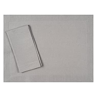 Huddleson Silver Grey Pure Linen Placemat 15x20 (Set of Four)
