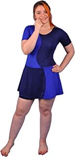 Polyester Short Sleeves Swimwear Dress With Shorts For Women - code 433