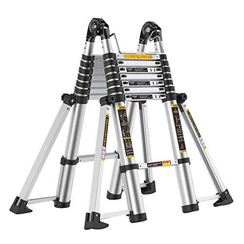 QMFYJ Leitern , Teleskopleiter, 5M Aluminium Mit Erhöhter Rutschfester Matte, Tragbare Faltbare Ausziehbare Ausziehbare Leitern Für Dachboden/Zuhause,2,5 M + 2,5 M,2,5 M + 2,5 M