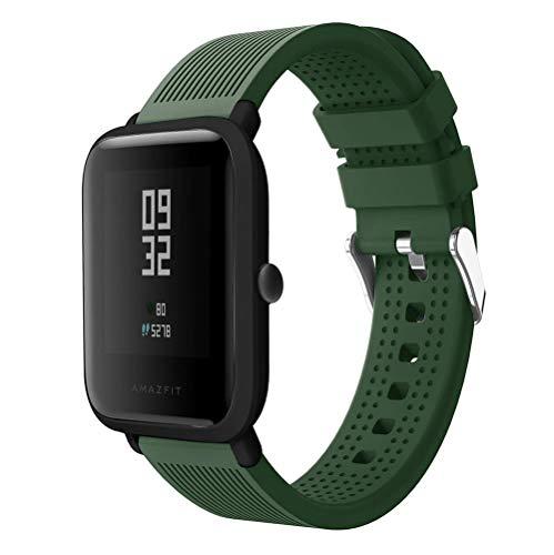 Correas de Relojes, Hanyixue Deporte Suave Silicona Reloj Banda Wirstband Accesorios para Huami Amazfit Bip Watch (Ejército verde)