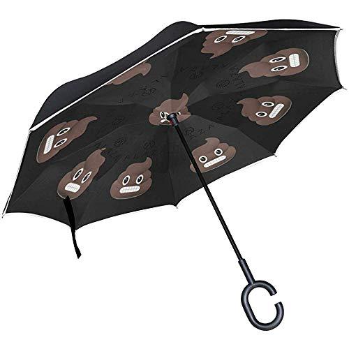 Paraguas EMO-JIS Poop Umbrella, Reverse Umbrella, Upside Down Umbrella with C-Shaped Handle