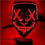 SOUTHSKY LED Mascara Mascarilla Negra Disfraz de Luces Neon Brillante Light Up 3 Modos For Chrismas Halloween Costume Cosplay Party (Rojo)