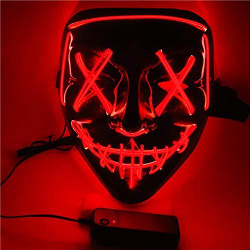SOUTHSKY LED Maske Schwarz Horror Masken mit Led Licht Leuchtend Vollmaske Neon Lichter Blinker EL Glowing 3 Modes Für Halloween Kostüm Cosplay Party (Rot)