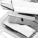 Ultra Sharp, USA-Made Steel Razor Scraper Blades Bulk 100 Pack by Nova Supply with Cardboard Carton Cutter Tool! Strong Single Edge 1.5 in Blade for Scrapers and Cutting Tools in a Safe Reclosable Box
