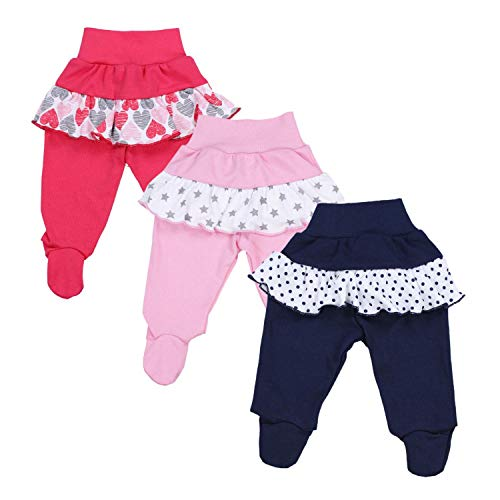 TupTam Baby Mädchen Strampelhose mit Rüsche 3er Pack, Farbe: Farbenmix 1, Größe: 80