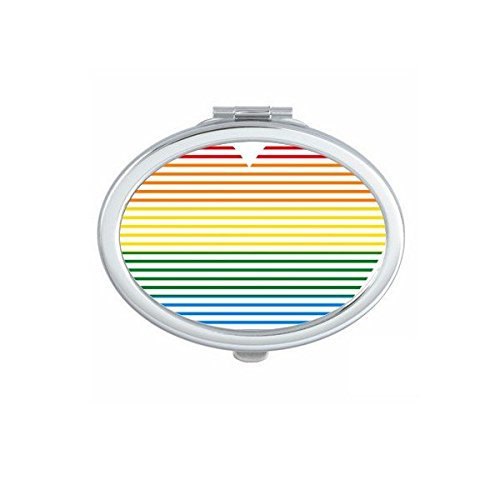 DIYthinker LGBT Tüpfeln Regenbogen Homosexuell Lesben Transgender Bisexuellen Unterstützung Gezeichnet Herz Illustration Oval Compact Make-up Taschenspiegel Tragbare Nette kleine Handspiegel