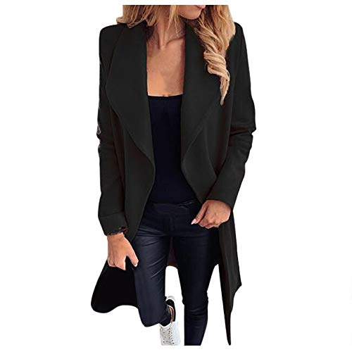 Damen Wolltuch Mantel, Gürtel Trenchcoats Einfarbig Langer Outerwear Revers Jacke