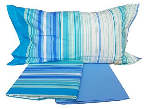Caleffi - Juego de sábanas para cama de matrimonio de 100 % algodón puro (1 plaza y media, azul)