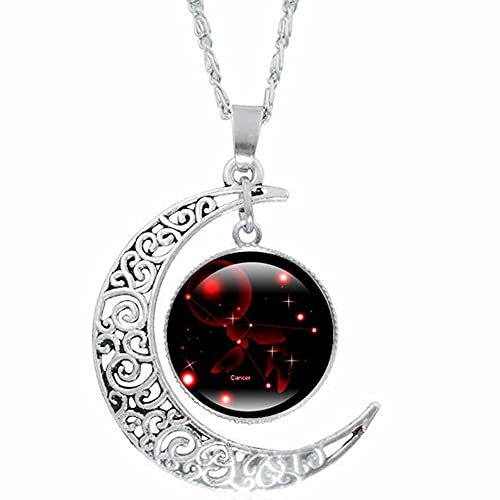 Rhodium Plated Celtic Knot Moon Crescent Resin Crystal Cocktail Party Constellation Star Pendant Necklace (Cancer)