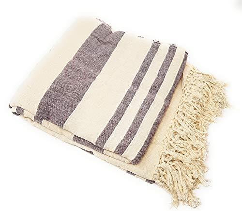 Aga's Own - Colcha de algodón (XXL, 220 x 250 cm), diseño indio, color beige y rojo