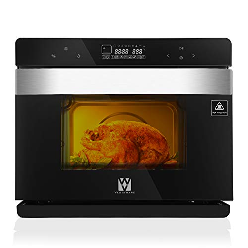 Vestaware Steam Convection Oven, 32QT Digital Toaster Oven Countertop Smart Ovens with 5 Predefined Programs/4 Menus with 32 Predefined Recipes/DIY modes Includes Baking Pan Grill Rack Mitts