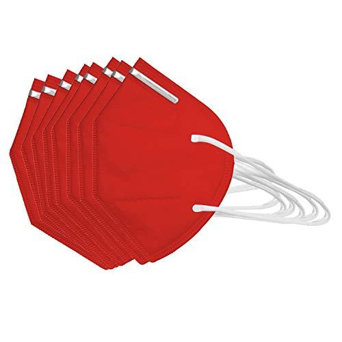100 Stücke_𝓶𝓪𝓼𝓴en 𝓶undschutz, Adult_𝙛𝙛𝙥𝟮_𝙈undschutz, Bandana_𝙠𝙣𝟵𝟱 Mundschutz,Breathable, Dustproof (100PC, Rot)