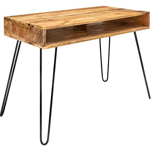 riess-ambiente.de Massiver Schreibtisch Scorpion Natur 100cm Mangoholz Hairpin Legs Konsolentisch Holztisch Bürotisch