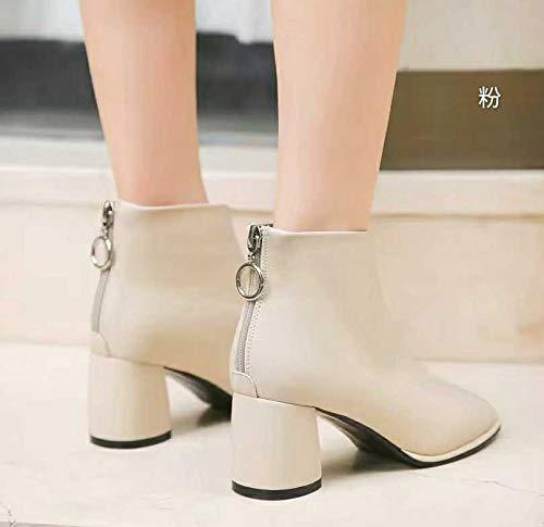 Shukun enkellaarzen laarzen laarzen vrouwen herfst laarzen hoge hakken Martin laarzen en kaal laarzen Beige veelzijdig dik met vierkant hoofd enkele laarzen