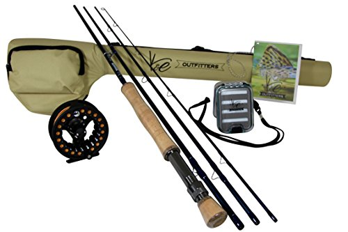 K&E Outfitters Drift Series 8wt Fly Fishing Rod and Reel Complete Package (Black Reel)