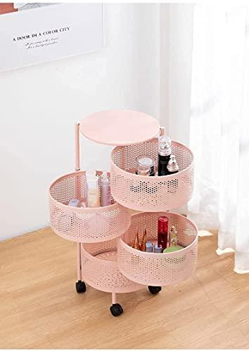 Fxbfag. Grupo de cocina redondo de 360 grados rosa con ruedas, cesta de verduras, cesta de almacenamiento cilíndrica con ruedas