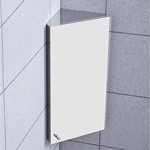 GXFC Edelstahl Eckspiegelschrank Badezimmer Spiegelschrank Badezimmerschrank mit 3 Regale 300 X 600 X 190 mm (Linke Tür)