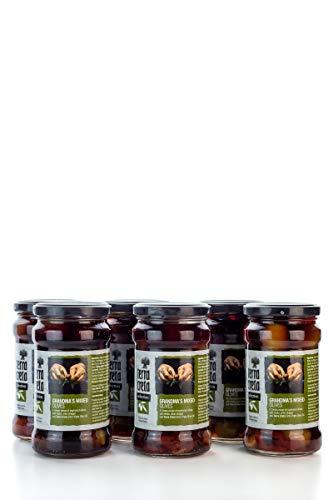 6 Gläser leckere Qualitäts Oliven Großmutters Variation mit Gewürzen und Honig eingelegt 6x 160g (960g) terra creta griechische Kalamata + Probiersachet 10ml Olivenöl aus Kreta Griechenland