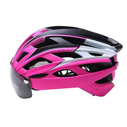 fuchsiaan Ultraleichter Mountainbike Fahrrad Fahrradhelm mit Goggle LED Rücklicht für Erwachsene Männer und Frauen Pink