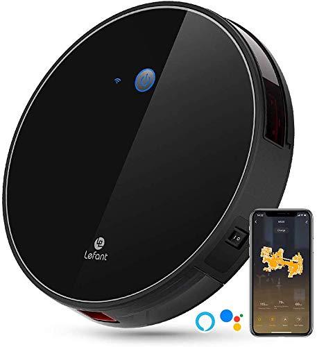 Saugroboter mit Freibewegung, 2200Pa Starker Saugkraft, WiFi-Steuerung, Arbeiten mit Alexa und Google, Smart-Mapping, Leise, Selbstaufladend, Saugroboter für Haare, Teppiche und Hartboden-Lefant M520