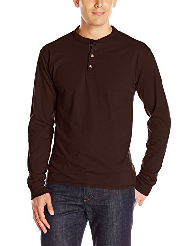 Hanes Men's Long-Sleeve Beefy Henley T-Shirt - Large - Dark Truffle