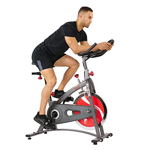 Sunny Health & Fitness Belt Drive Indoor Cycling Bike with LCD Monitor, 40 lb Chrome Flywheel, 265 lb Max Weight - SF-B1423, Gray