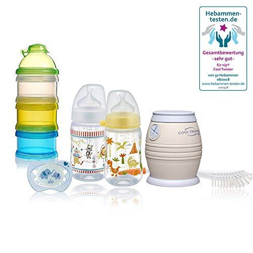 NIP Flaschenkühler Cool Twister SMART-Set // NIP Cool Twister Set & Reer Milchpulver- Portionierer // Rundum-sorglos-Paket für die Fläschchenfütterung // BPA frei
