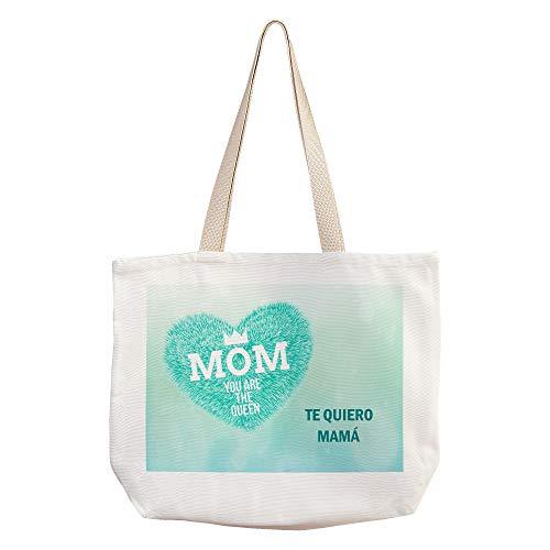 LolaPix Naturtasche mit Ihrem Foto, Namen, Text, Bild personalisiert. Verschiedene Ausführungen Originelles Geschenk für Mama. KÖNIGIN BLAU