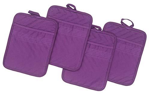 "Cotton Pocket Pot Holder Kitchen Hot Pad Heat Resistant, Set of 4, Kitchen Basic Trivet for Cooking and Baking, 7""x 9"" (Purple)"