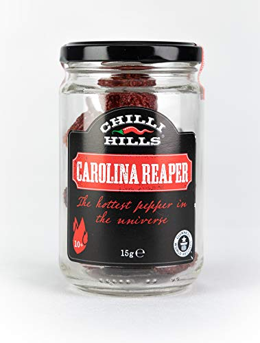 Chilli Hills Carolina Reaper Dried Hot Chili Peppers. Worlds Hottest Chillies Grown in Our Family Farm and Precisely dehydrated to Preserve The Flavour. Whole pods in a Glass Jar
