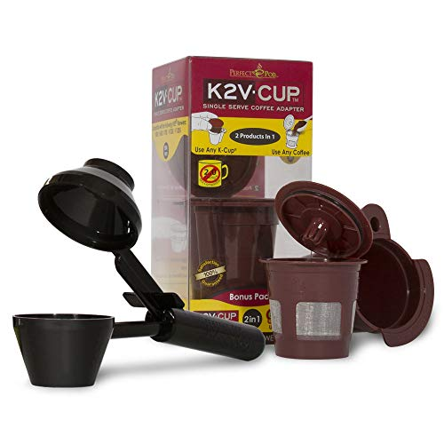 Perfect Pod K2V Cup Adapter, Reusable Filter, and EZ-Scoop | Compatible with Keurig VUE Single-Serve Coffee Brewer (Reusable Coffee Pod + Coffee Scoop)