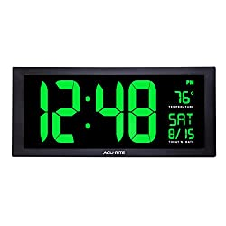 AcuRite 76101M Oversized LED Clock with Indoor Temperature, Date and Fold-Out Stand, 18, Green