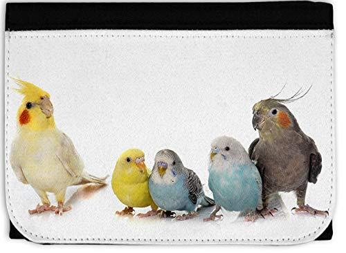 Geldbeutel/Geldbörse, schwarz 120 x 85 mm mit Reißverschluss Motiv: Vögel Wellensittich Nymphensittich