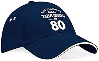 80th Birthday Baseball Cap Hat Gift Idea Present keepsake for Women Men