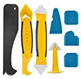 8 pièces outils de calfeutrage en silicone, outil de retrait de joints avec grattoir/extracteur de calfeutre/buse, joint d'étanchéité en silicone outil de démontage pour salle de bain, cuisine
