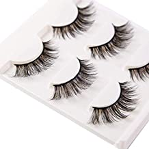 3D False Eyelashes Extensions 3 Pairs Long Mink Lashes Strip with Volume for Women's Makeup Handmade Soft Big Eye Lash Sets Bulk