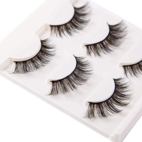 3D False Eyelashes Extensions 3 Pairs Long Mink Lashes Strip with Volume for Women